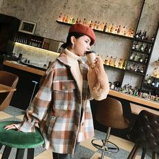 2017小维新品冬季格子毛呢外套女学生宽松中长款呢子大衣