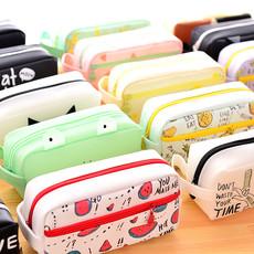 简约硅胶帆布女大容量笔袋 韩国可爱铅笔盒 创意初中小学生文具