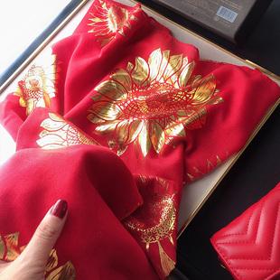 明星同款烫金棉麻围巾女东宫小枫红色丝巾海边超大防晒沙滩巾披肩