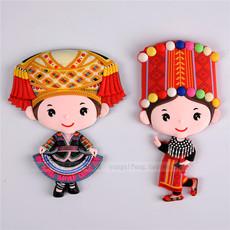 创意中国风云南特色少数民族人物服饰冰箱贴磁性贴家居冰箱装饰品