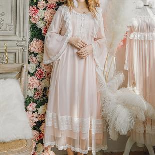 甜美法式复古公主风睡裙仙女神春款纯棉绸长款裙写真少女家居服