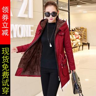 加绒风衣女中长款加厚2018秋冬季新款韩版修身加棉外套女棉衣大码