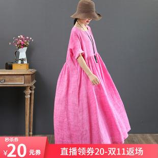 纯苎麻 沙滩裙 夏季 文艺棉麻风 大码 大摆裙短袖长款连衣裙3230