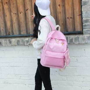 日韩版简约帆布双肩包女休闲学院风中学生书包大容量小清新女背包