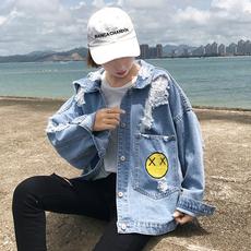 秋装新款韩版宽松bf风学生长袖上衣百搭短款刺绣破洞牛仔外套女潮
