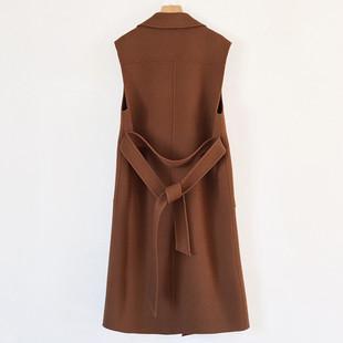 2018新款双面羊绒背心女韩版无袖西装领马甲中长款羊毛呢百搭上衣