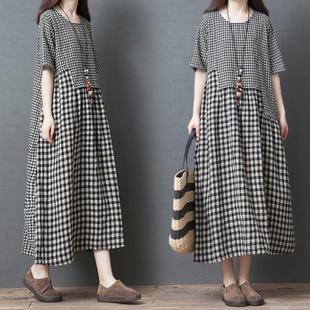 夏装新款棉麻连衣裙女宽松大码格子遮肚显瘦短袖韩版亚麻中长裙子