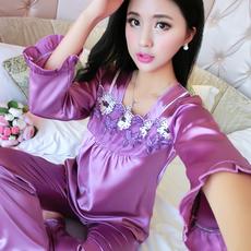 春秋新款促销真丝睡衣女长袖丝绸家居服套装性感薄款两件套睡衣