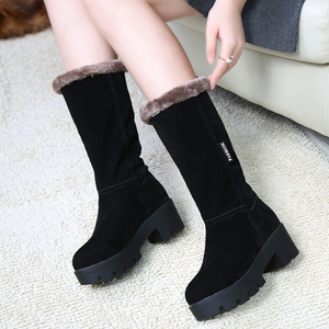 2016冬季防滑厚底雪地靴女中筒靴加绒保暖棉靴冬靴女鞋真皮女靴子休闲鞋女