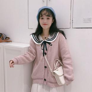 毛衣女秋装2018新款女韩版针织衫学生开衫长袖外套上衣海军风衬衫
