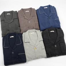 外贸日单 男士 秋冬款针织棉拉绒睡衣套装长袖 宽松开衫 大码宽松
