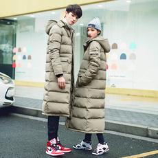 冬季加厚加长款连帽棉衣男女户外休闲情侣装过膝运动大衣棉服外套