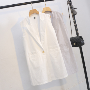 夏季棉麻馬甲女夏薄款文藝寬松大碼純色中長款馬夾亞麻開衫外套潮