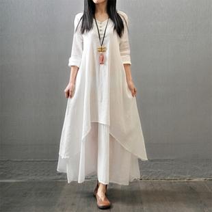 2018春季新款韩版假两件文艺大摆棉麻连衣裙大码宽松长袖亚麻长裙