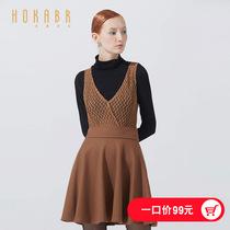 韩版 V领镂空毛呢背心裙收腰纯色无袖 HOKABR 红凯贝尔冬装 连衣裙