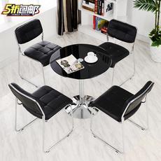 商务办公接待洽谈桌子简约现代钢化玻璃圆形会客4S店小圆桌椅组合