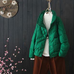 原创韩版短款纯色羽绒服女冬季新款宽松立领白鸭绒羽绒服加厚外套