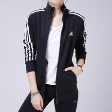 阿迪达斯adidas外套女装新款运动服立领三条纹夹克-S97427