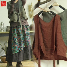 19 Spring and Summer Style Original Restoration of Ancient Literature and Art Style Simple Fashion with Open-breasted vest Individual Women Shoulder Wide-set Cotton and Hemp vest