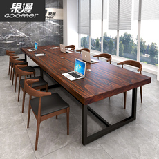 美式大型loft会议桌长桌简约现代实木桌铁艺长条桌子工业风办公桌