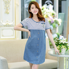 New fashionable pregnant women's jeans skirt, summer dress, Korean version of pregnant women's jacket, dress, spring dress and long sleeves