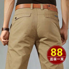 吉普盾纯棉男装休闲裤男士商务卡其男裤子宽松直筒秋冬季大码长裤