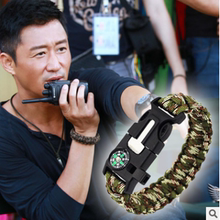 Tiantian Warwolf 2 Wu Jing, the same outdoor survival escape rope, hand ring, compass, hand rope and flint Bracelet