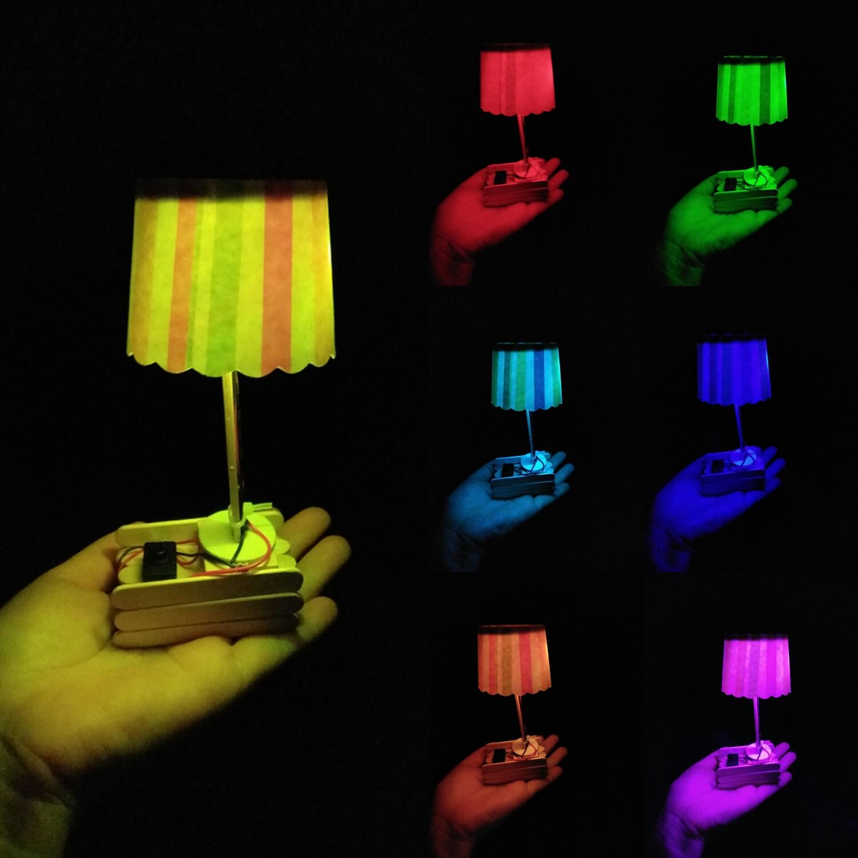 七彩台灯科技小制作小发明创意纸杯台灯diy儿童手工制作材料拼装