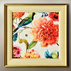 美克美家风客厅有框装饰画挂画壁画瓦伦西亚花鸟蝶 特价