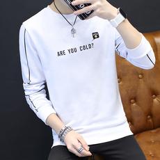 男士春季修身韩版长袖t恤男装字母印花薄款新款上衣服卫衣打底衫