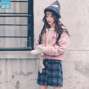 羊羔毛外套女短款预售新款秋冬毛绒短款学生棉衣原宿bf加厚短外套