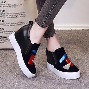 拼色乐福鞋女春新款厚底松糕鞋坡跟单鞋真皮休闲鞋8cm内增高女鞋真皮女鞋