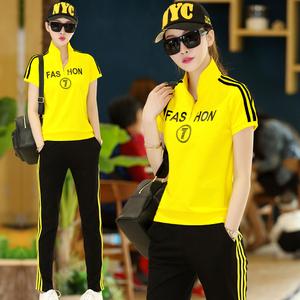 运动套装女夏装休闲两件套2017夏季新款女装时尚短袖韩版夏天衣服煤气钢瓶