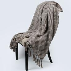 样板间咖色羊毛搭巾高端可家用系列适用家具展厅卖场沙发床尾搭毯