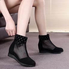 春夏网靴磨砂真皮短靴内增高女鞋镂空单靴中跟圆头透气网纱女靴子