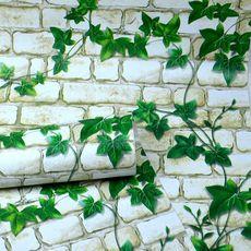 PVC防水加厚墙纸自粘墙壁田园风格砖块绿叶爬山虎家具翻新