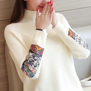 2016秋冬新款女装民族风毛衣女套头高领韩版加厚针织衫上衣打底衫羊绒衫女