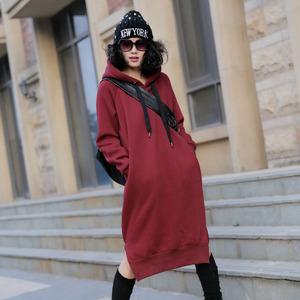 纯色卫衣女韩版潮长款大码宽松女装套头卫衣加绒卫衣女长袖连衣裙女装定制