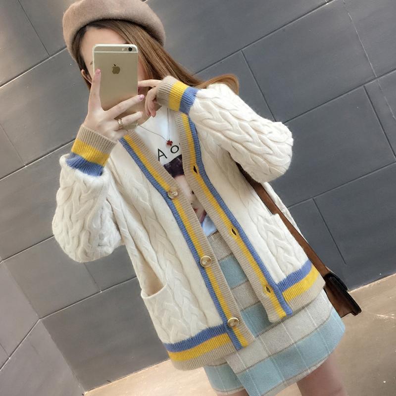 2018春季新款针织衫开衫女装韩版宽松V领纯色条纹麻花单排扣开衫针织衫