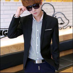 休闲西装男秋季韩版修身长袖西服青年学生便服单西大码纯色潮男装