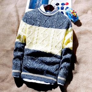 冬季男士毛衣圆领韩版学生秋季青少年套头针织衫外套男装长袖线衣棒球服
