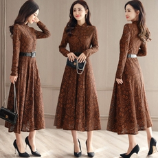 蕾丝连衣裙长裙长袖女2018新款女装春装韩版修身显瘦气质春款裙子
