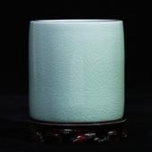 景德镇陶瓷花瓶开片瓷器哥窑冰片现代家居书房笔筒摆件办公工艺品