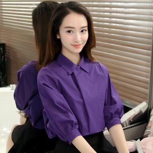 秋季宽松衬衫女韩范新款白色衬衣灯笼袖休闲纯色五分袖上衣职业装