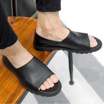 英伦时尚 男真皮休闲懒人鞋 班比帝伦夏季罗马皮凉鞋 凉拖两用沙滩鞋