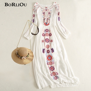 泰国旅游波西米亚长裙民族风女装棉麻刺绣连衣裙海边度假沙滩裙仙