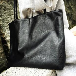 2016新欧美大容量单肩包欧美软皮 黑 单肩大包时尚手提包街头女包
