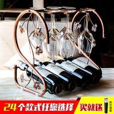 欧式红酒架创意红酒杯架摆件家用葡萄酒架高脚杯架倒挂酒瓶架实木