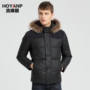 HOYANP新款男士韩版大毛领羽绒服短款加厚休闲冬季外套青年潮yrf
