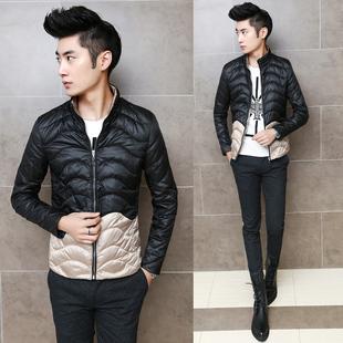 扎佐冬季新款韩版修身立领轻薄拼色90绒男士羽绒服潮流夹克男外套